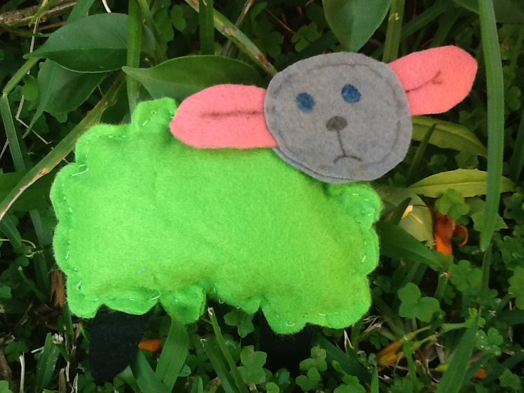Where is the Green Sheep?  Felt sheep.   Hide in doors or outside. Have child hunt for the green sheep.  Then hide it again.   Fun hide and seek game