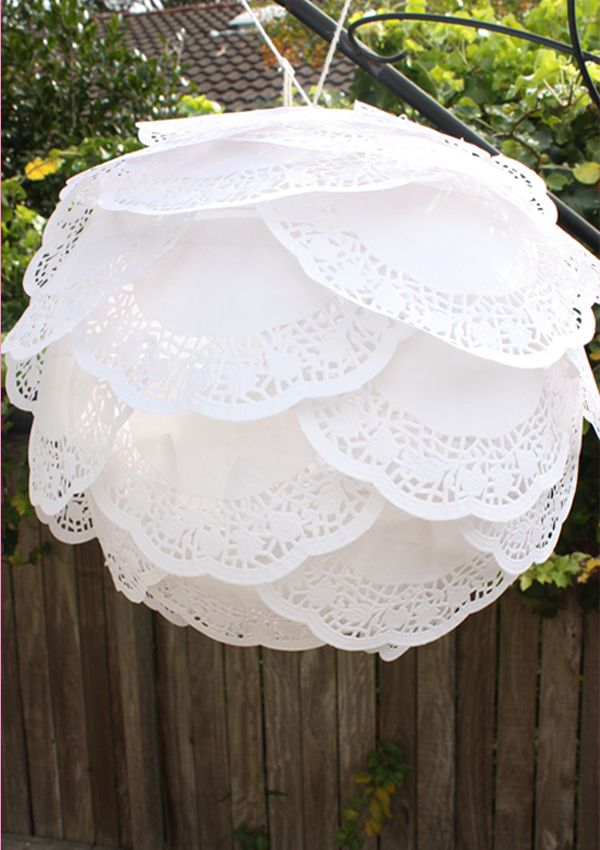 doily covered paper lantern
