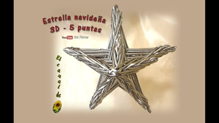 Estrella 3D de cinco puntas con papel periódico - 3D five-pointed star w...