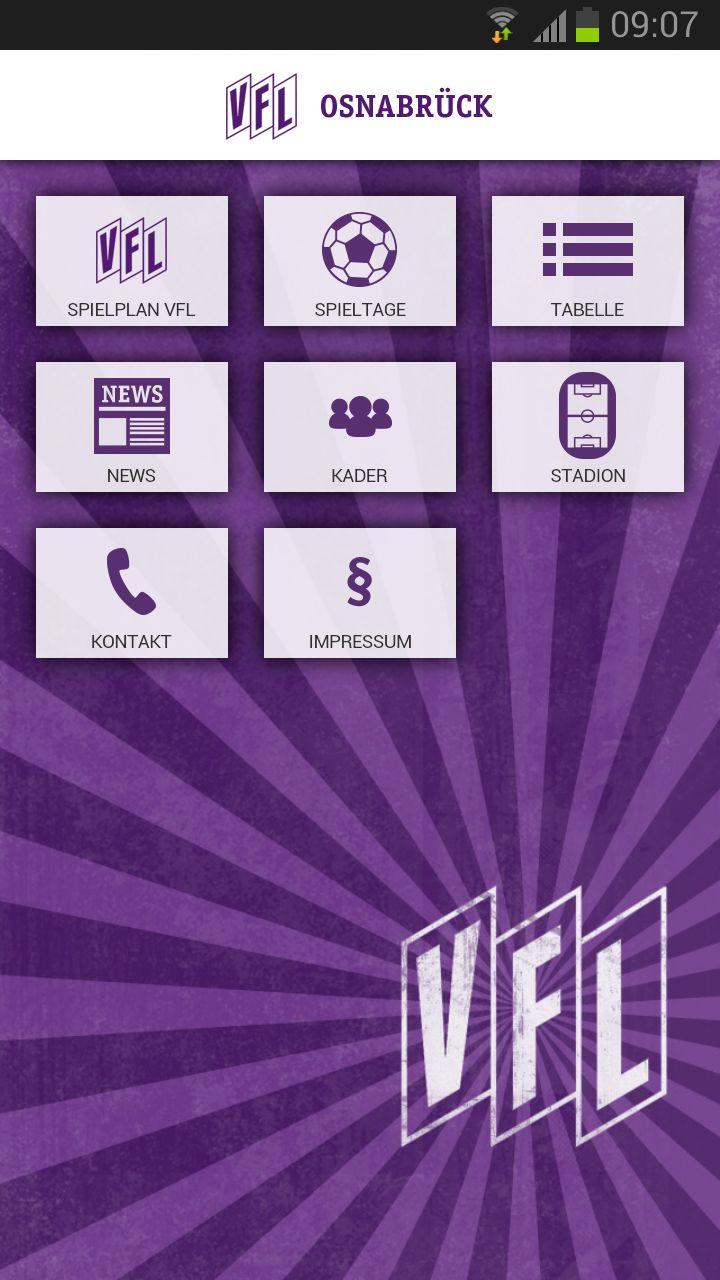 VfL Osnabrück App - Startbildschirm