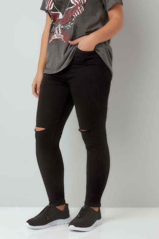 85792214e6b Black Ripped Knee Skinny Stretch AVA Jeans