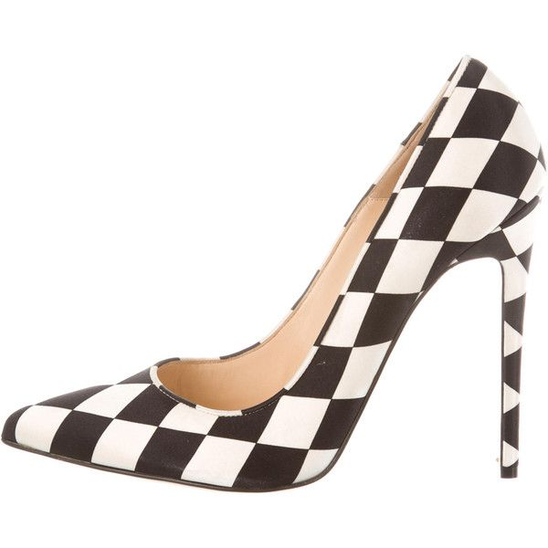 Pre-owned Bionda Castana Harlequin Daphne Bis Pumps ($205) ❤ liked on Polyvore featuring shoes, pumps, neutrals, checkered shoes, pointed toe pumps, off white pumps, champagne satin pumps and champagne pumps