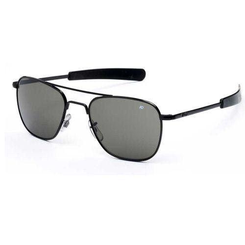 AO Eyewear Original Pilot Black Frame Bayonet Temple True Color Gray Glass Lens Sunglasses