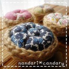 麻紐とコットンでお花のピンクッションの作り方 ソーイング 編み物・手芸・ソーイング ハンドメイド・手芸レシピならアトリエ