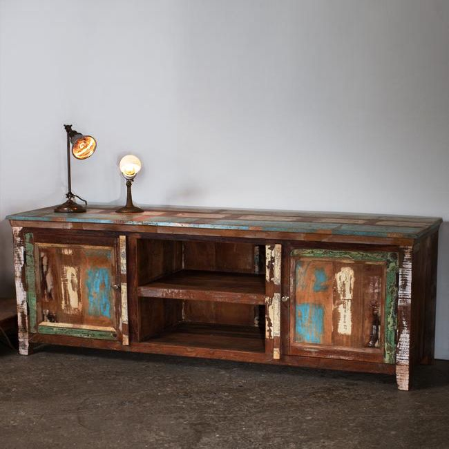 This Unique Entertainment Center Is Crafted From Reclaimed Wood With  Brushed Nickel Hardware. This Low