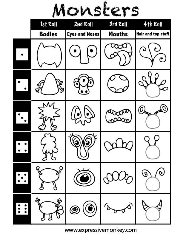 Dice Drawing Sheets: Monsters game
