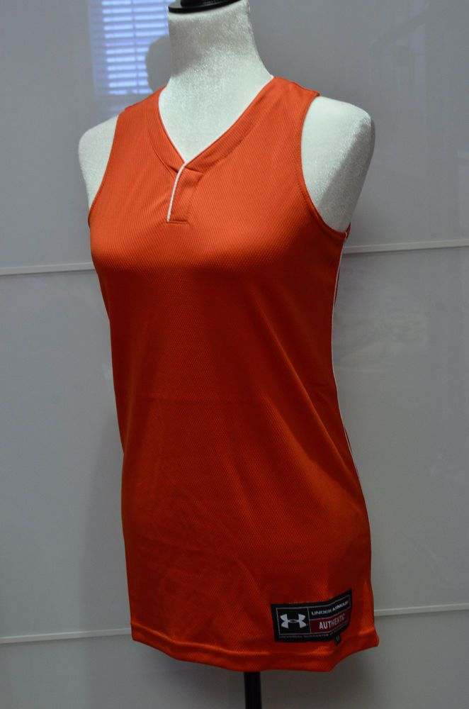 UNDER ARMOUR Baseball jersey shirt Orange XS WOMEN gym game sport apparel #UnderArmour #Jerseys