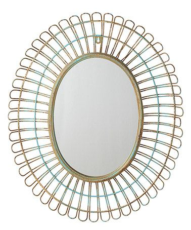 Love this Blue Distressed Oval Wall Mirror on #zulily! #zulilyfinds