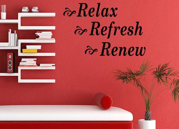 relax refresh renew bathroom vinyl decal by