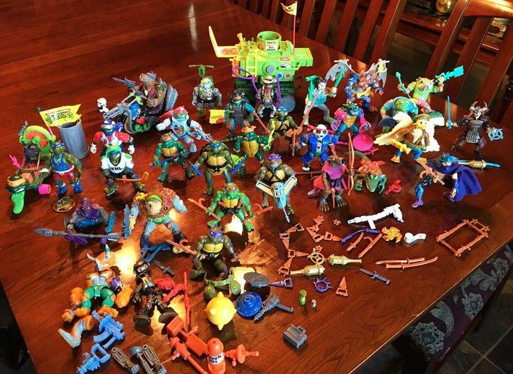 Vintage Teenage Mutant Ninja Turtles Figures Large Lot w/ Vehicles and Weapons