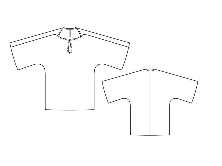 Блуза с широкими цельнокроеными рукавами - выкройка № 111 из журнала 5/2015 Burda – выкройки блузок на Burdastyle.ru