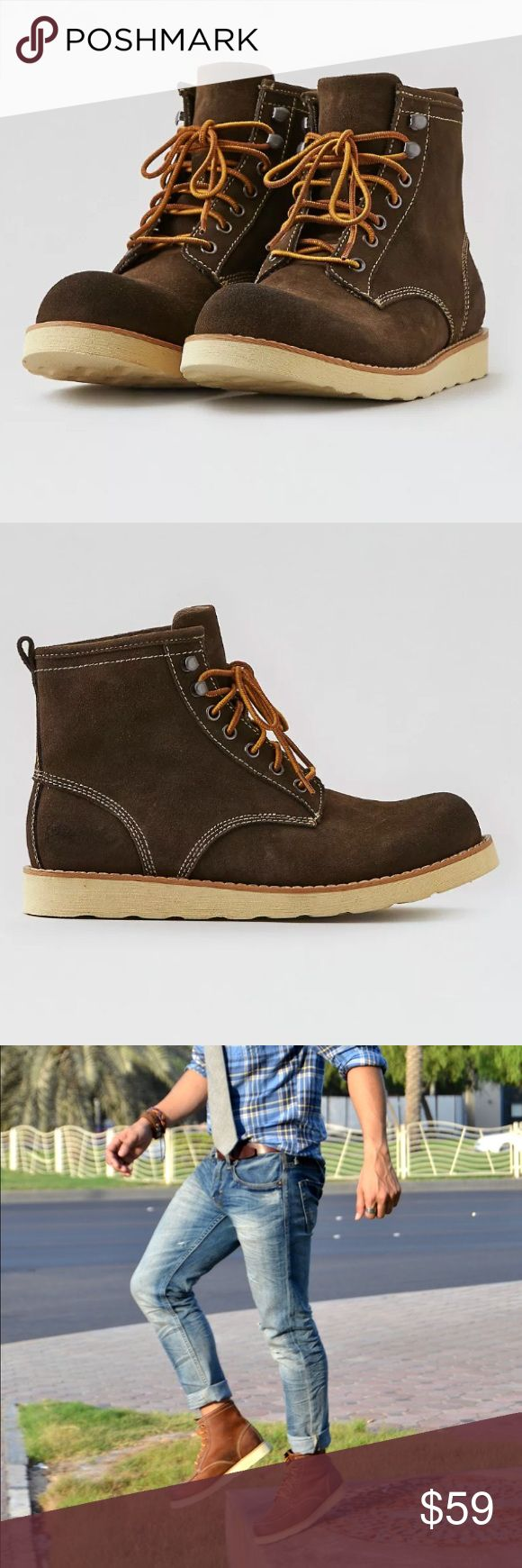 NEW AEO Men's Suede Lace Up Lumber Boots 10 Plain NEW in box American Eagle Outfitters $99 Plain Toe Lumber Boots In dark brown suede  Size 10      Any questions, Please ask.   Please check out our other listings, we can combine shipping.  🎉❤️Offers are welcomed!❤️🎉 American Eagle Outfitters Shoes Boots