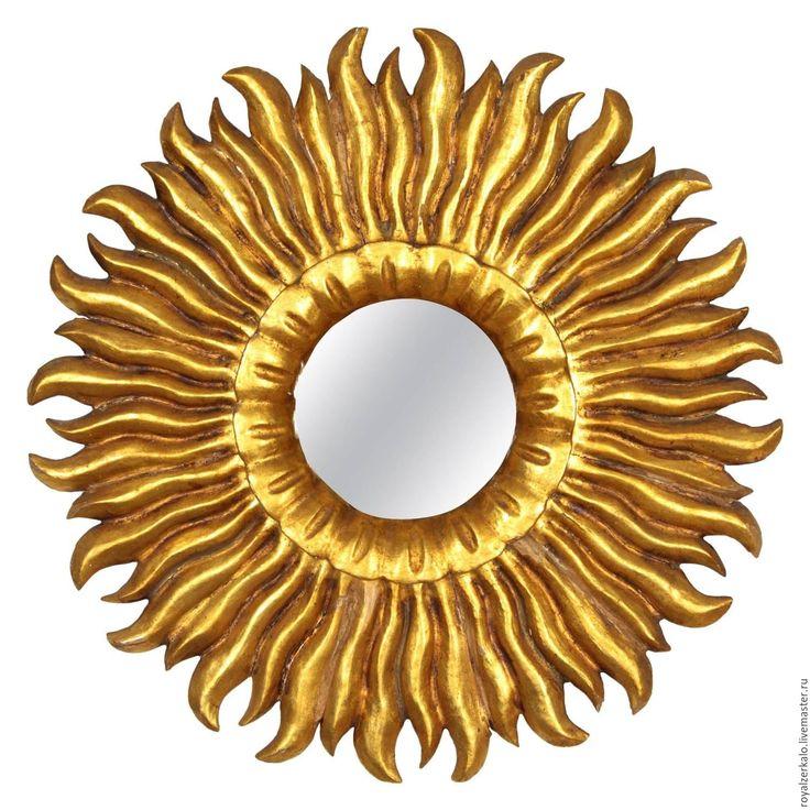 Купить Золотое зеркало солнце Helios - зеркало настенное, зеркало солнце, резное зеркало