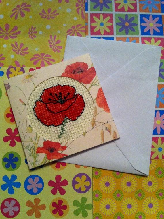 Mini Poppy Cross Stitch Card via Etsy