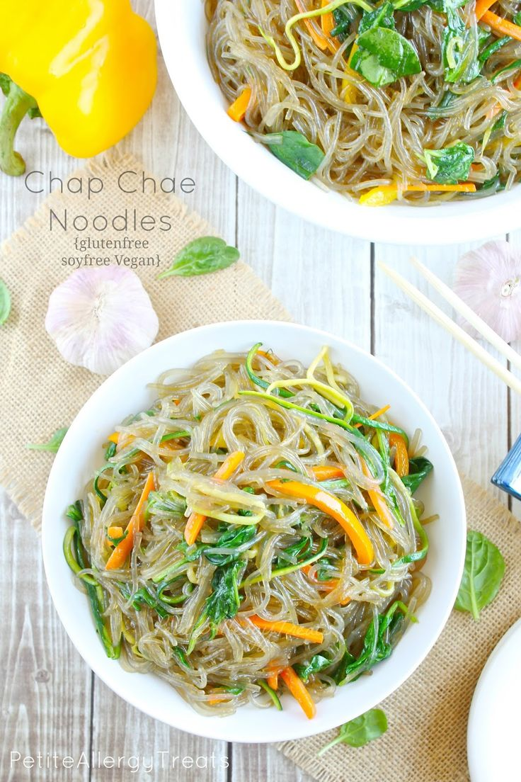 Korean Glass Noodles Chap Chae-Gluten free sweet potato vermicelli with loads of healthy veggies. Vegan