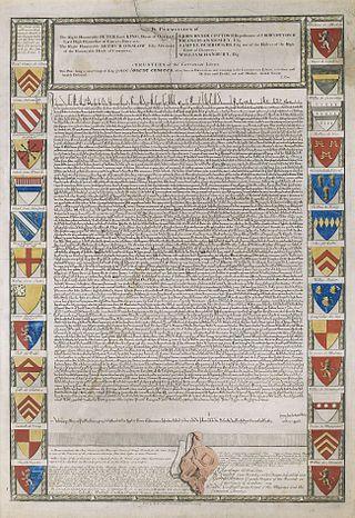 Великая хартия вольностей.Гравюра XVIII века,(лат. Magna Carta,также Magna Charta Libertatum) политико-правовой документ, составленный в июне 1215г. на основе требований англ.знати к королю Иоанну Безземельному и защищавший ряд юридических прав и привилегий свободного населения средневековой Англии.