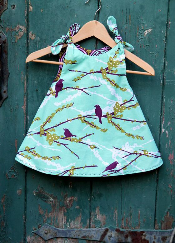 Girls Aviary Reversible Dress, Custom Order Size 6m 12m 18m 2T 3T 4T 5 6 by The…