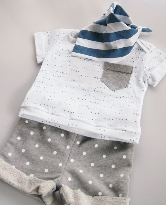 Organic Cotton Hand Printed Baby Summer Tee Blue by fablebaby, $39.00