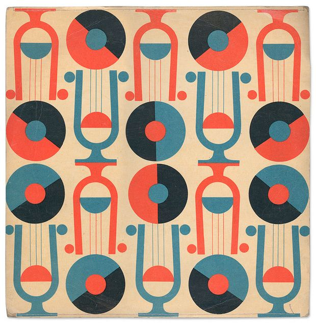 Record album cover design for a collection of folk songs for children, 1950s-60s ✭ vintage graphic design pattern