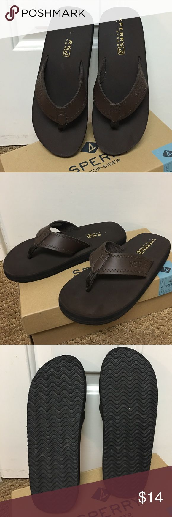 EUC Boys Sperry Brown Flip Flop Sandals - Sz 5M Boys Goby Brown Sperry Topsider Flip Flops Sandals in a size 5M.  Look great!  Probably only worn once. Sperry Top-Sider Shoes Sandals & Flip Flops