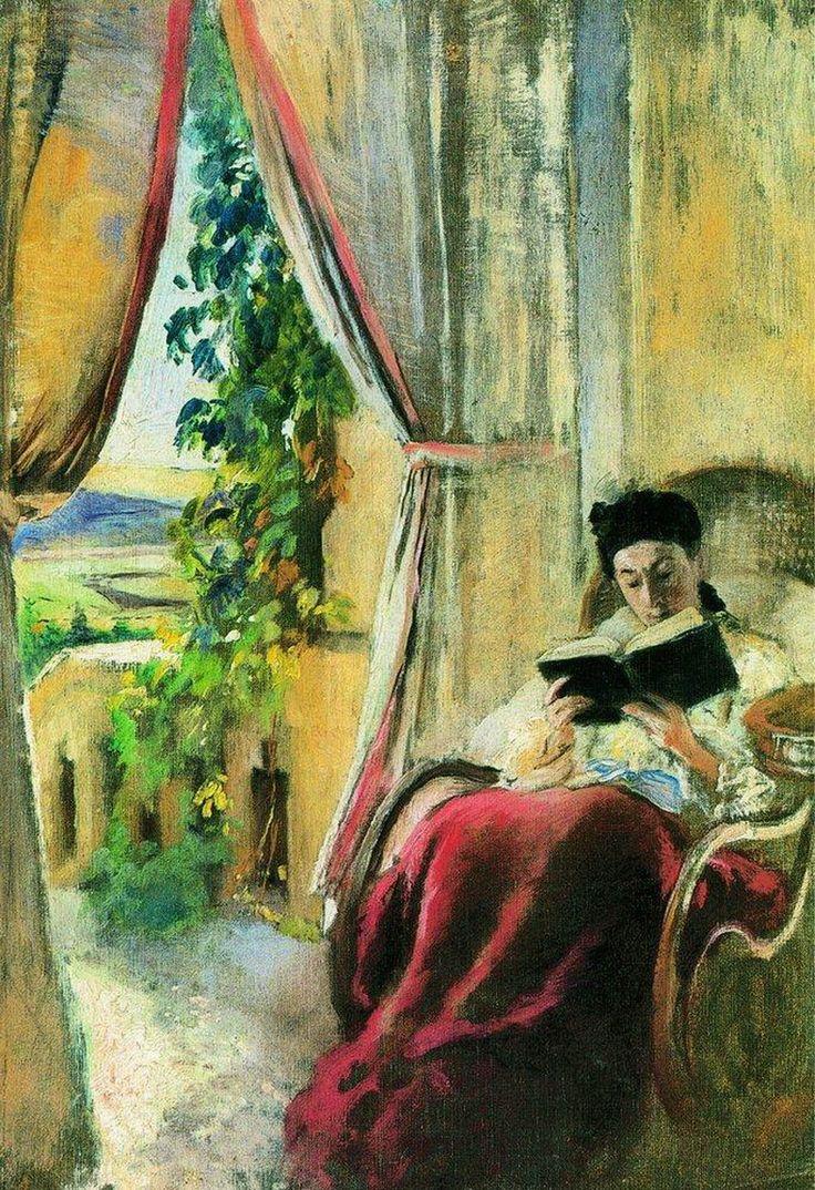 ✉ Biblio Beauties ✉ paintings of women reading letters & books - Konstantin Makovsky | Reading, c. 1900