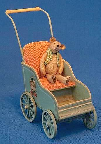 Wooden Body with Wooden Wheels Doll Carriage.