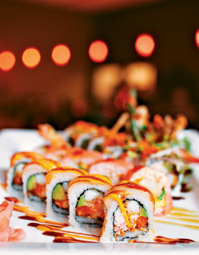 buying wedding rings Drunken Fish  Town Center Crossing  White Tiger Rolls with calamari tempura  crab  avocado and masago  topped with white tuna  spicy mayo and eel sauce   sushi