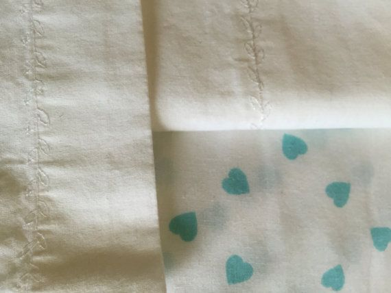 Toddler bed sheet set teal hearts on toddler by MyEclecticTreasure