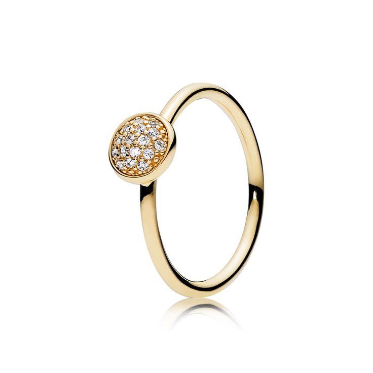 Anel Gota de Ouro Brilhante - 150187CZ