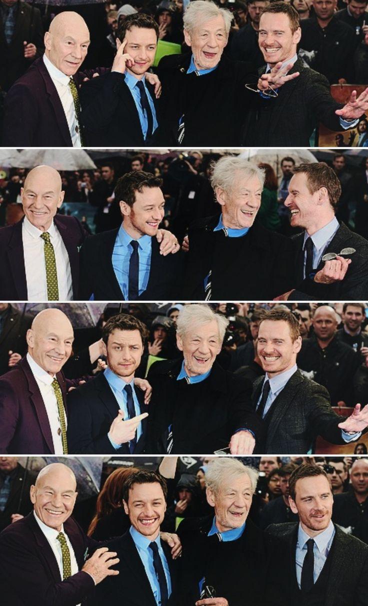 Ian McKellen Michael Fassbender ( Magneto ) with Patrick Stewart James McAvoy ( Charles Xavier )