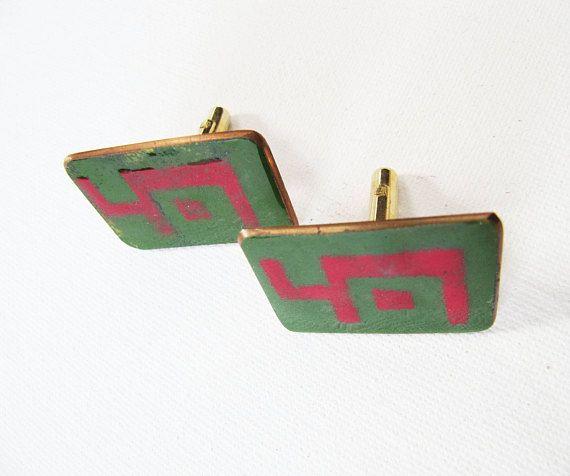 Vintage Modernist Copper Cufflinks Retro Mod Abstract Cuff