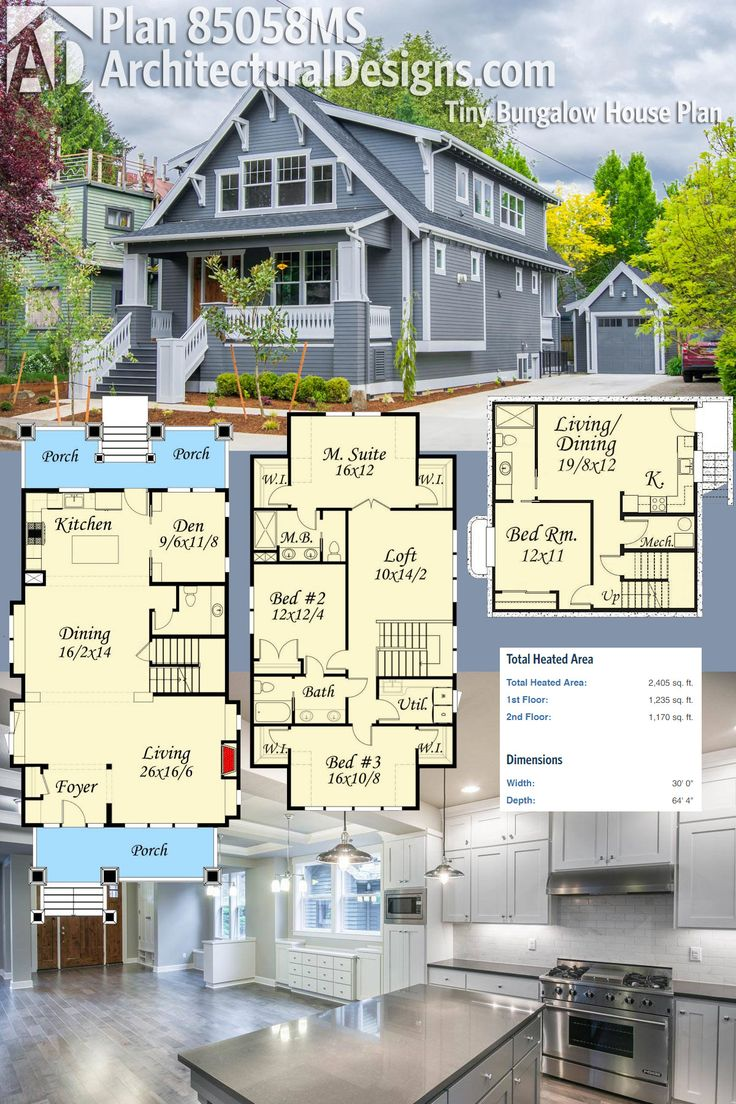 Architectural Designs Tiny Bungalow House Plan 85058ms Gives You Three Levels Of Living A Wide
