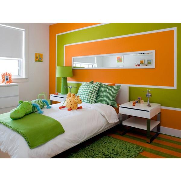Orange Kids Room: Faux Green Grass Rug White Ikea Platform Bed