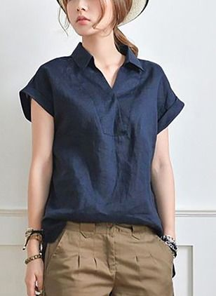 8aa205bf69447 Solid Casual Linen Collar Cap Sleeve Blouses (1165767)