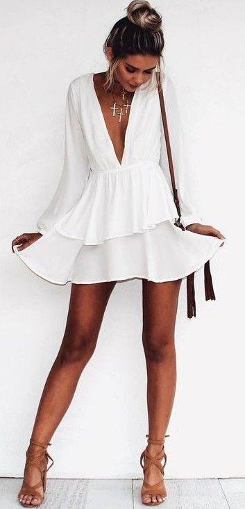 #summer #outfits / deep v neck sun dress