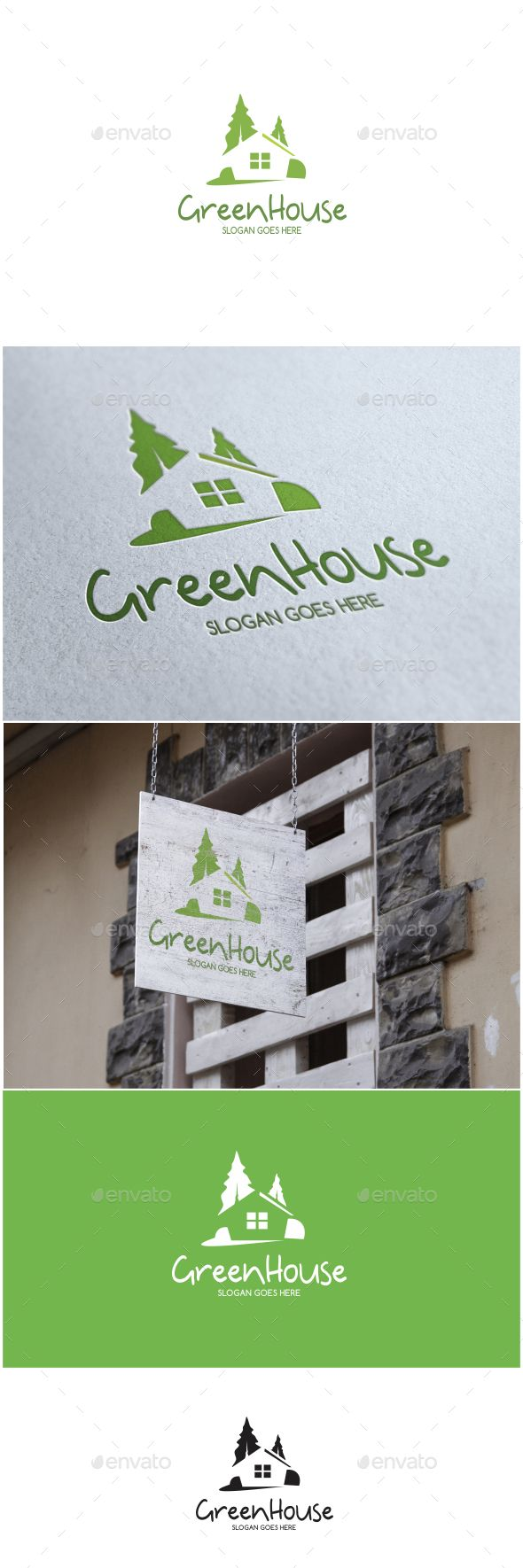 Green House Logo — Vector EPS #tree #construction • Available here → https://graphicriver.net/item/green-house-logo/17144275?ref=pxcr