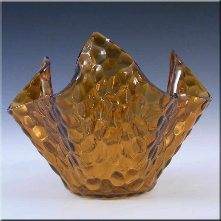 Chance Brothers Amber Glass 'Hammered' Handkerchief Vase - £13.49