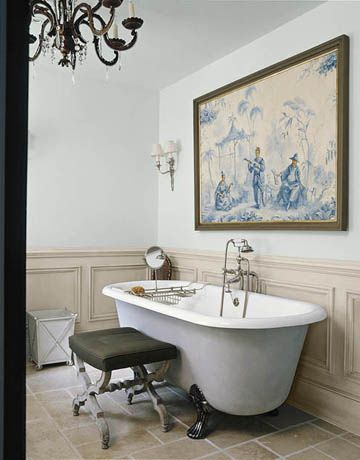 Walls are painted Light Blue and wainscoting is Old White, both by Farrow & Ball.