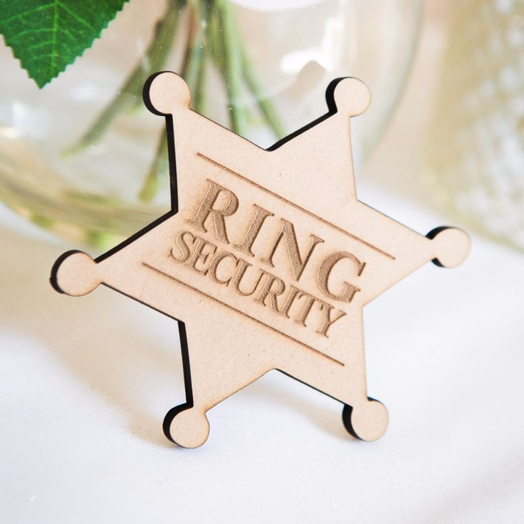 """Ring Security"" Wooden Ring Bearer Badge"