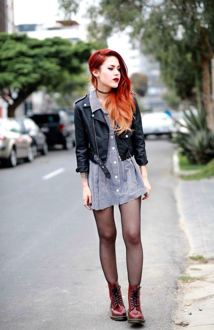 LeHappy – I like the idea of shirt dress, leather jacket and doc martens, cool and effortless