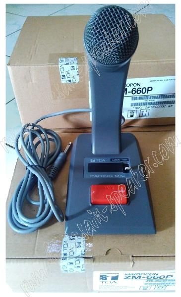 TOA Desk Microphone Paging tipe ZM-660P dengan Mono Plug Tipe Microphone Meja yang dirancang untuk paging atau panggilan, pengumuman dll. Produk awet dan suara jernih dapat digunakan di receptionist perkantoran, hotel, loket, Car call, dll. ZM-360P memiliki saklar on-off yang besar tipe lock switch sehingga memudahkan operasional pemakaiannya, cocok untuk diaplikaskan dengan semua amplifier TOA. Terima kasih.
