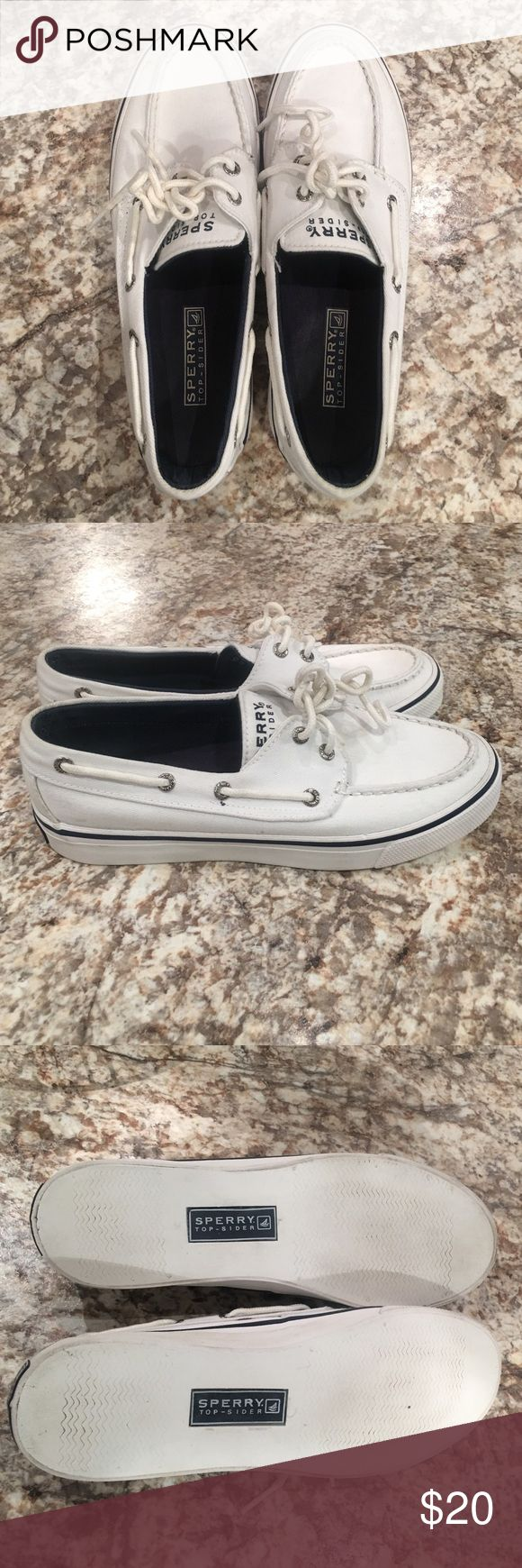 White Sperry Topsider shoes White and navy sperrys - Women's size 6 - worm a few times but no signs of wear Sperry Shoes Flats & Loafers