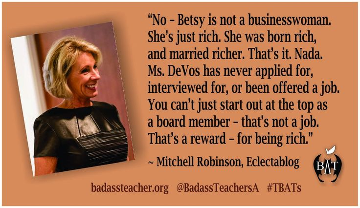 eclectablog.com/2017/01/no-betsy-devos-is-not-qualified-to-be-secretary-of-education.html … @mrobmsu #TBATs @BadassTeachersA #DumpDeVos #RecuseYourself #BetsyDeVos only qualification is she's rich. #Pay2Play