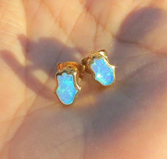 Hamsa Earrings, Opal Hamsa Earrings, Evil Eye #jewelry #earrings @EtsyMktgTool #minimalistjewelry #delicatejewelry #bridesmaidgift