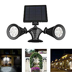 Solar Motion Sensor Light Outdoor, iThird 12 LED 600LM Solar Powered Security Lights Wall Mounted Spotlights for Garage Garden Yard Porch Driveway Pool Waterproof