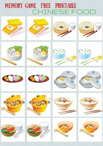 CHINESE AND FAST FOOD - #MEMORY #GAME FREE PRINTABLES FOR YOUR KIDS