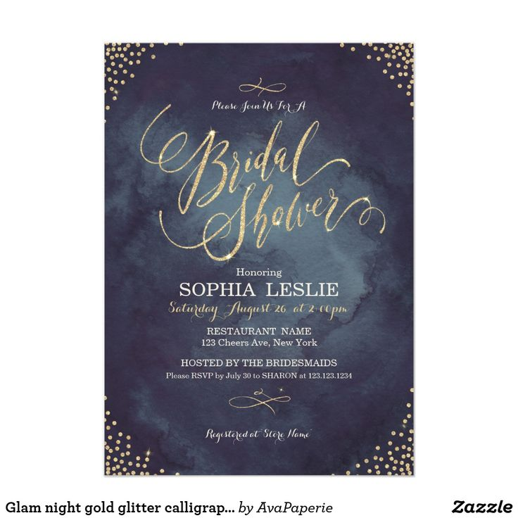 inexpensive wedding shower invitations%0A Glam night gold glitter calligraphy Bridal Shower Card