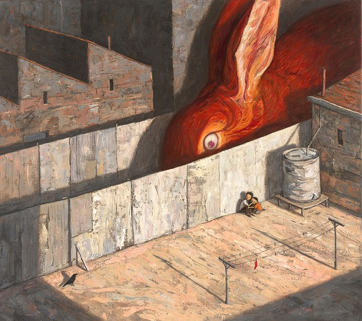 Illustration approach: Isolation and anger (Heavy reds and swirling brush strokes evoke anger and scale of people compared to setting and rabbit provides some sort of isolation among the scene) <Shaun Tan>