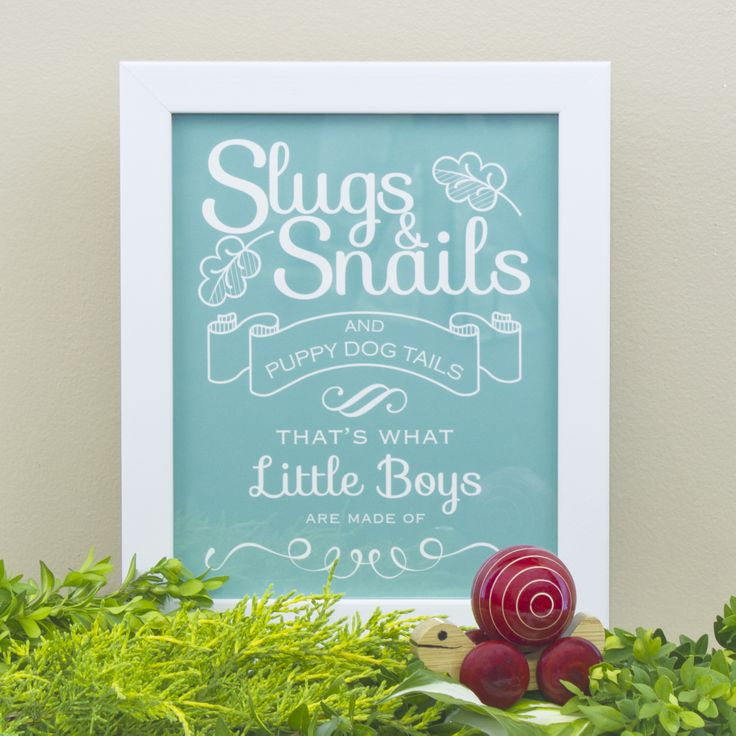 """Makes a great Christmas gift! Choose a colour, choose a style, make it your own! """"Slugs and Snails and Puppy Dog Tails"""" print by Simple Sugar Design 