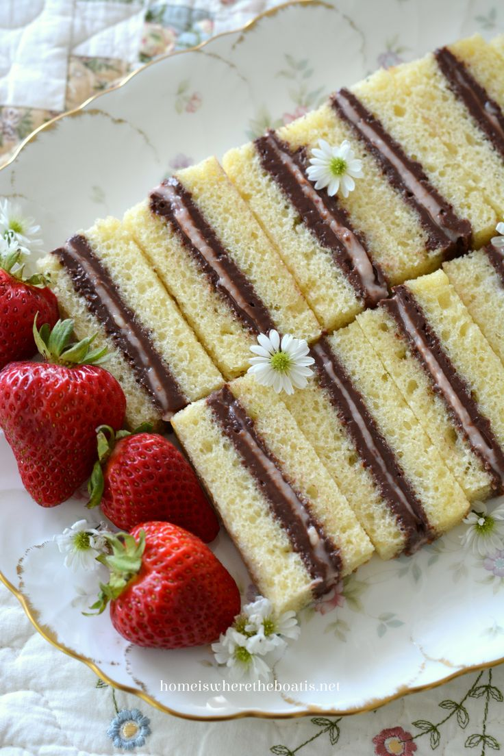 Pound Cake Tea Sandwiches! Layers of chocolate buttercream and strawberry cream cheese sandwiched between layers of pound cake for a sweet teatime treat! | homeiswheretheboatis.net #tea #recipe #easy